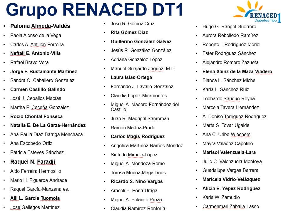 Conoce a todos los que han colaborado en el proyecto RENACED Diabetes Tipo 1